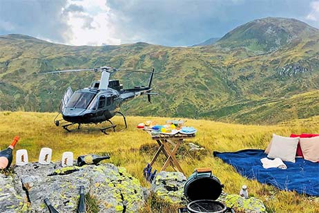 Alm helicopter picnic flight sennair